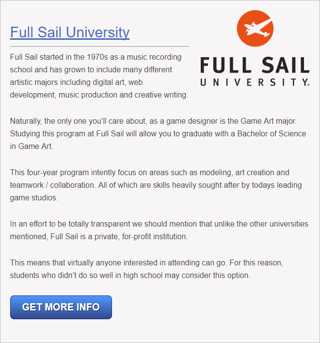 Video Game Development Training Programs In Florida - Full sail university game design