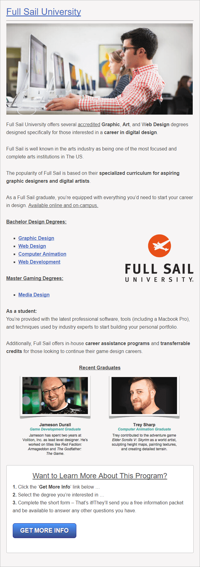 Full Sail University for Graphic Design