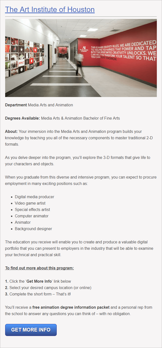 Houston Texas School for 3D animators
