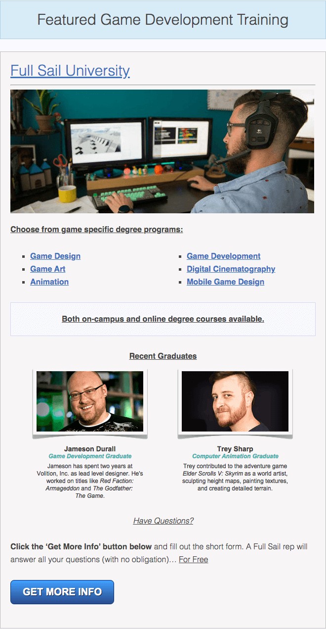 online game design degree options