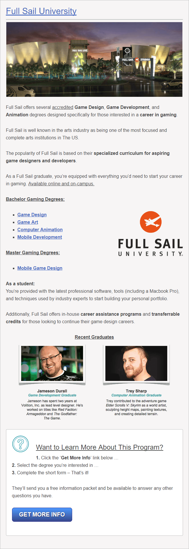 Full Sail University for Game Design