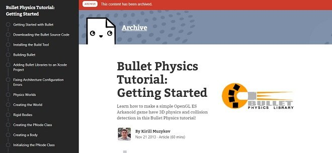 bullet engine tutorial