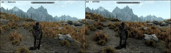 ambient occlusion before and after
