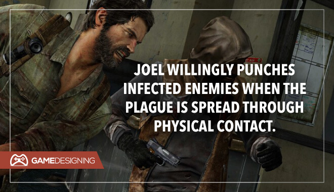 Joel punching infected enemies